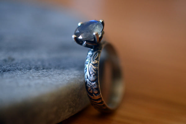 Custom Engraved Blue Fire Labradorite Engagement Ring