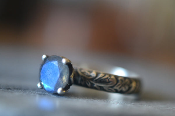 Gothic Labradorite Engagement Ring With Flower Pattern Band