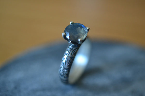 Natural Labradorite Crystal Engagement Ring in Oxidised Silver