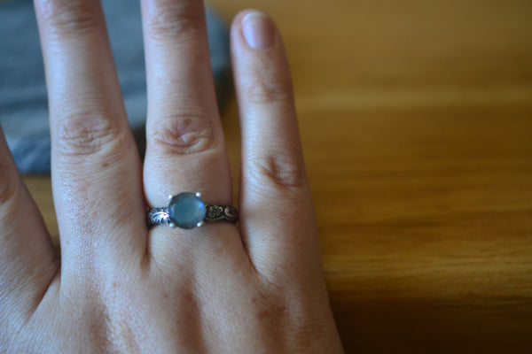 Nature Inspired Flower Engagement Ring With Labradorite