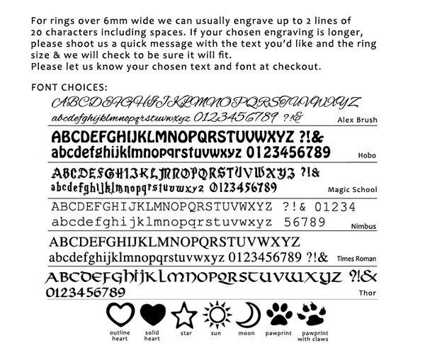 Engraving Font Choices For Personalised Wedding Rings