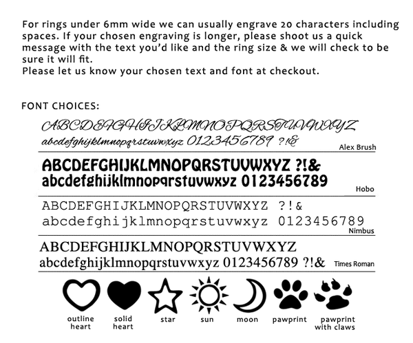 Personalisation Font Options for Engraving