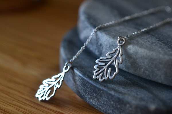 Nature Inspired Sterling Silver Oak Leaf Threader Earrings