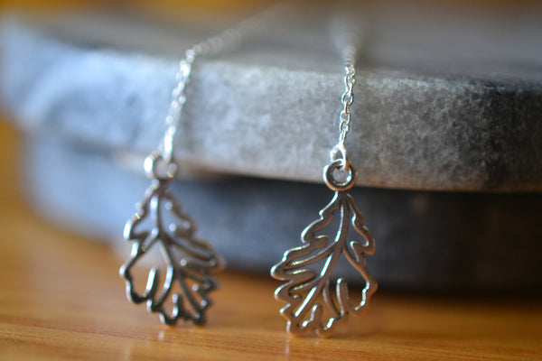 Women's Boho Sterling Silver Oak Leaf Ear Threads