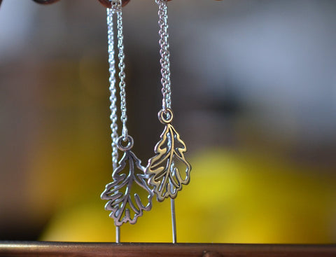 Sterling Silver Oak Leaf Threader Earrings With Chain