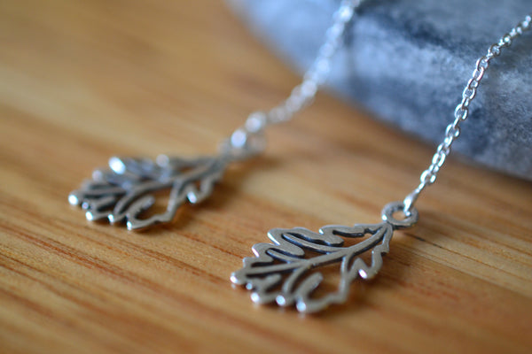 Women's Oak Leaf & Chain Threader Earrings in Sterling Silver
