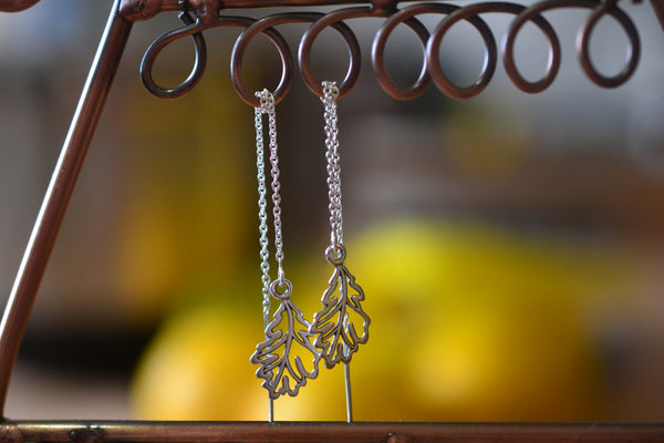Sterling Silver Oak Leaf & Cable Chain Threader Earrings
