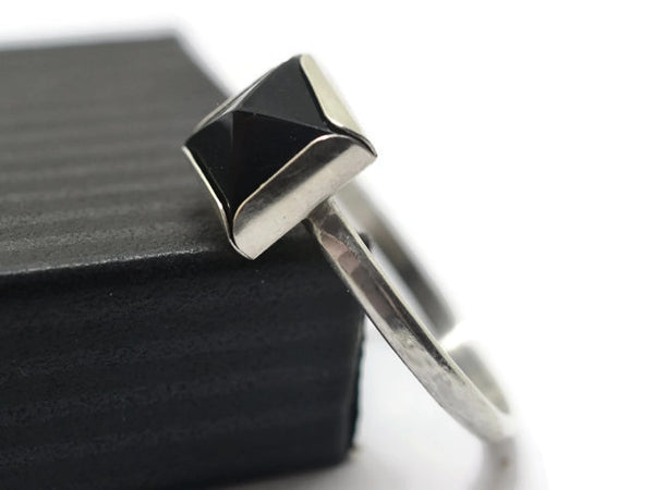 Handmade Sterling Silver Black Onyx Point Ring