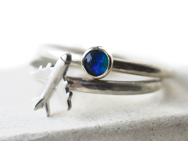 Blue Green Opal Triplet & Airplane Ring Set