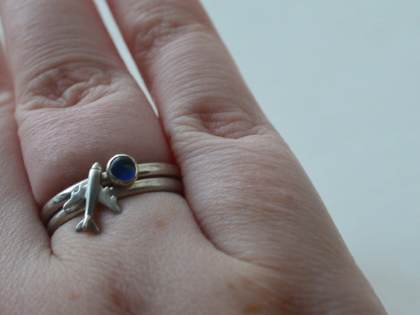 Handmade Silver Plane & Blue Opal Stacking Ring Set