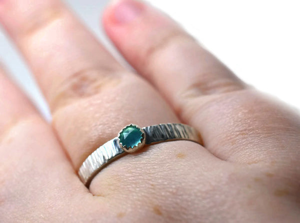 Handmade Rustic Sterling Silver Tree Bark Peruvian Blue Opal Engagement Ring