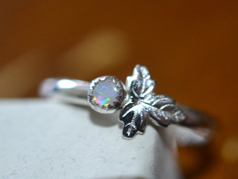 Tiny White Opal Berry & Sterling Silver Leaf Charm Ring