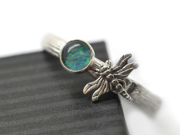 Blue Green Opal Triplet & Silver Dragonfly Ring