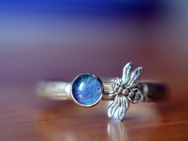Handmade Sterling Silver Dragonfly & Opal Triplet Ring