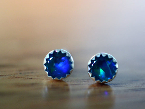Handmade Blue Opal Triplet Earrings in Sterling Silver