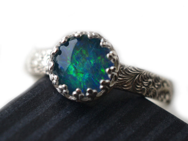 Sterling Silver Feather Plume Pattern Opal Triplet Ring