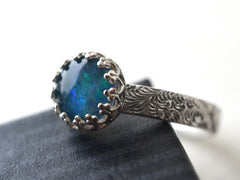Opal Triplet & Feather Scrollwork Band