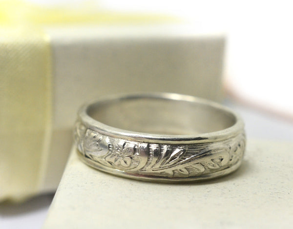 Handmade Floral Silver Renaissance Style Wedding Band for Men