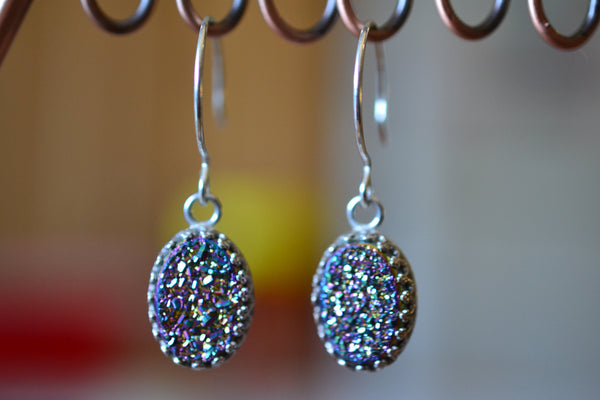Handcrafted Oval Rainbow Druzy Agate Gemstone Earrings