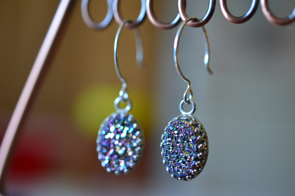 Handmade Oval Titanium Rainbow Druzy Agate Drop Earrings