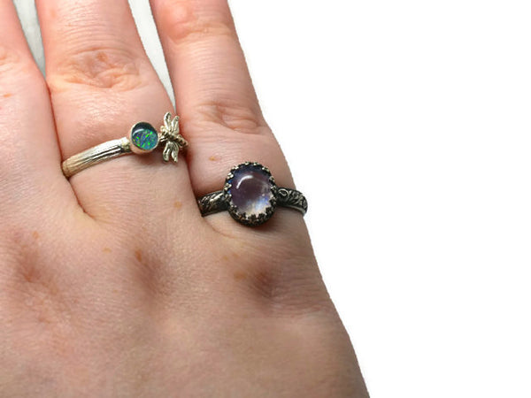 Oxidized Floral Silver Oval Rainbow Moonstone Ring