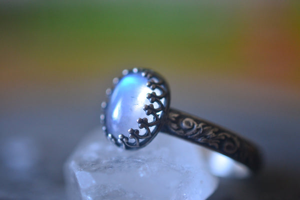 Gothic Rainbow Moonstone Statement Ring in Oxidised Silver