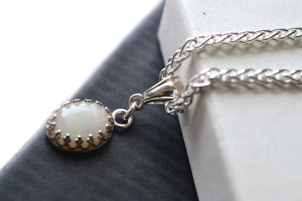Handmade Natural White Opal Necklace in Sterling Silver