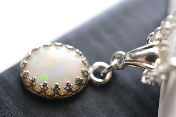 Handmade Sterling Silver & Genuine Coober Pedy Opal Necklace in Silver