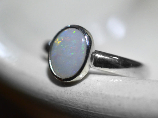 Handmade Solid White Opal Ring in Sterling Silver