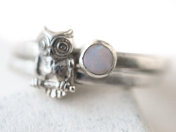 4mm White Opal & Silver Owl Charm Stacking Ring Set