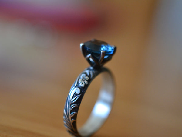 Gothic Oxidised Silver London Blue Topaz Engagement Ring