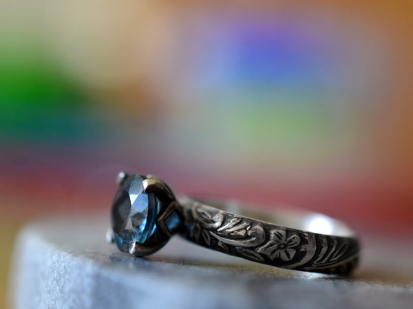 Personalised London Blue Topaz Cocktail Ring in Oxidised Silver
