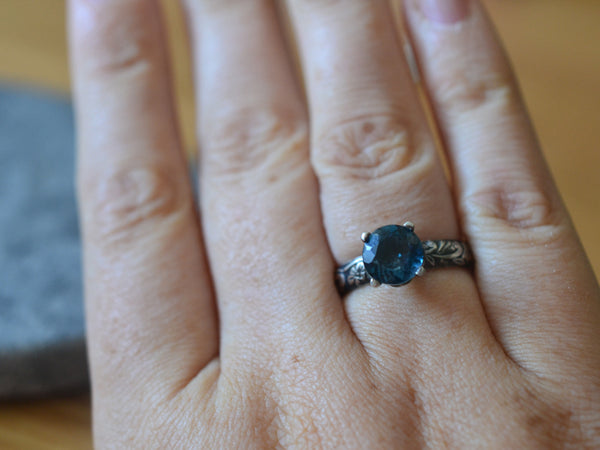 Gothic Floral Silver London Blue Topaz Engagement Ring