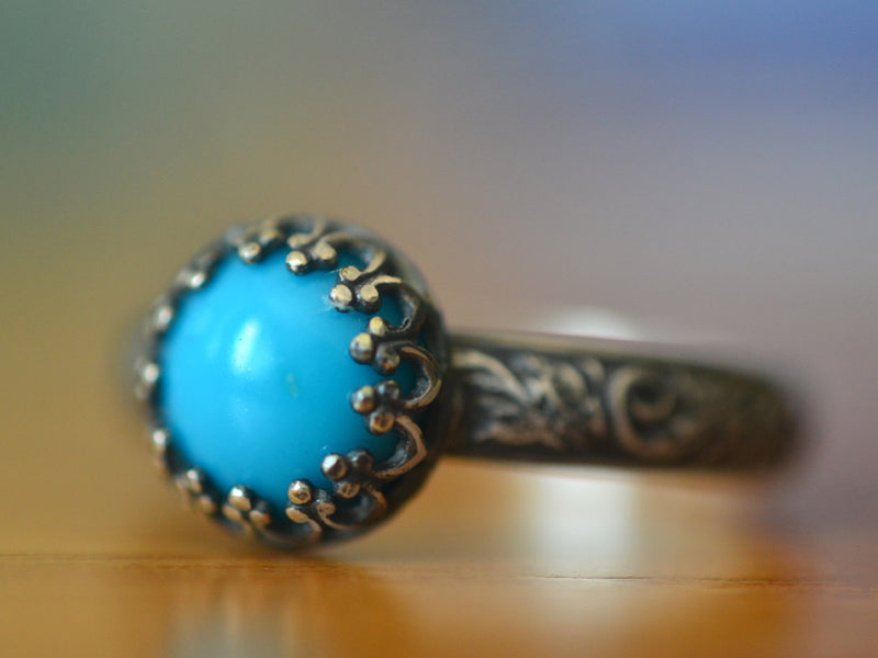 Oxidised Floral Silver & Turquoise Engagement Ring