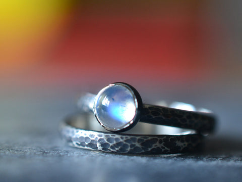 Oxidised Silver & Blue Moonstone Bridal Ring Set