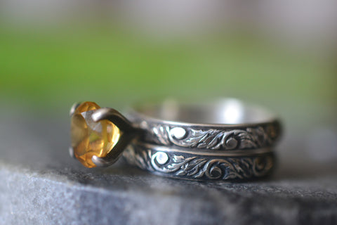 Women's Gothic Citrine Wedding Band Set in Oxidised Silver