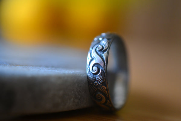 Personalised Gothic Oxidised Silver Dogwood Wedding Band