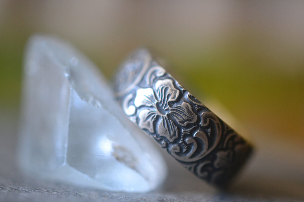 Man's Oxidised Silver Hibiscus Flower Wedding Band
