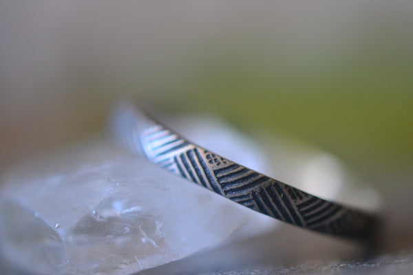 Oxidised Silver Florentine Weave Ring