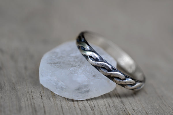Narrow Oxidised Sterling Silver Celtic Band