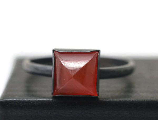 Gothic Oxidized Silver Red Carnelian Pyramid Ring