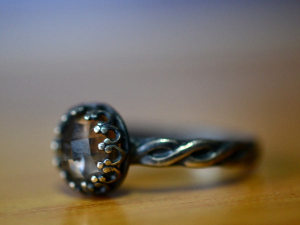 Handmade Oxidized Silver Celtic Style Smoky Quartz Engagement Ring