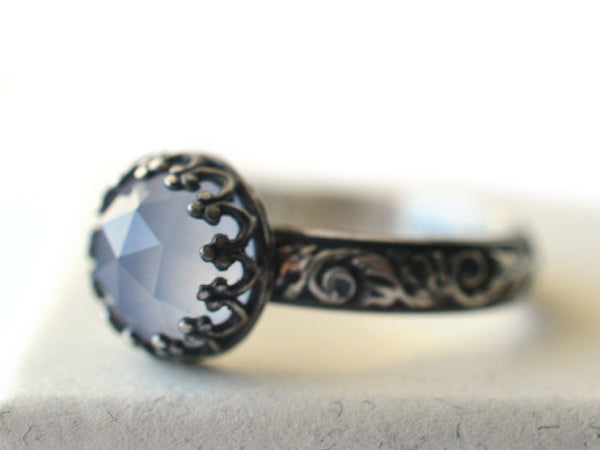 Handmade Blackened Silver & Natural Blue Chalcedony Engagement Ring