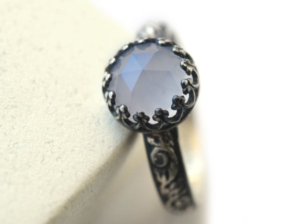 Handcrafted Gothic Oxidised Silver & Blue Chalcedony Engagement Ring