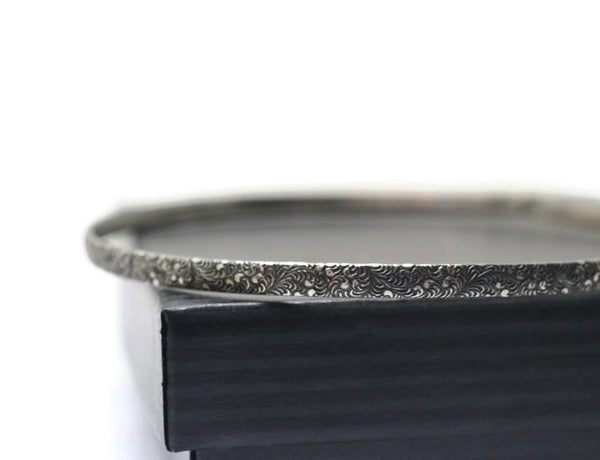 Handmade Oxidized Silver Feather Plume Pattern Bangle