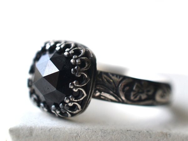 Gothic Oxidized Floral Silver Black Spinel Ring