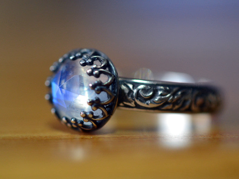 Oxidized Floral Silver Rose Cut Rainbow Moonstone Engagement Ring