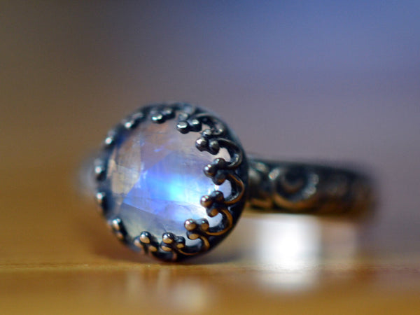 Oxidized Floral Silver & Rainbow Moonstone Engagement Ring