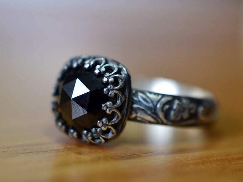 Handmade Oxidised Floral Silver Black Spinel Ring