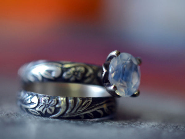 Faceted Blue Moon Quartz Engagement Ring Set in Oxidised Silver